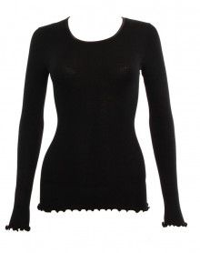 Moretta wool & silk long-sleeved black top (NOIR)