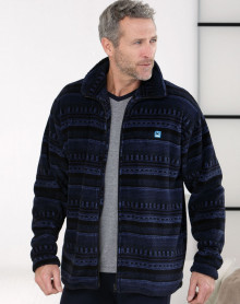 Blue striped fleece bathrobe Massana