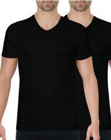 Set of 2 Athena V-neck T-shirts Organic Cotton (Black)