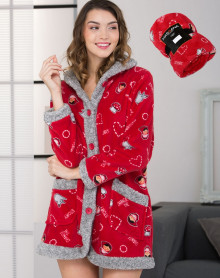 Red and grey bathrobe Massana