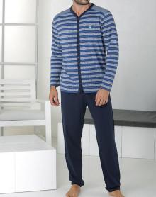 Grey and blue striped pyjama with buttons Massana