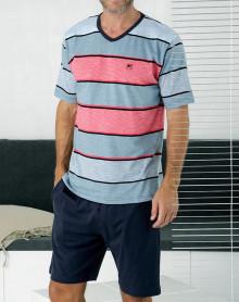 V-neck pyjama short striped Massana