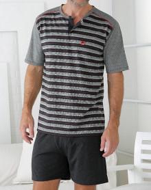 Grey black red striped pyjama short Massana